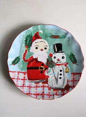 Anthropologie Event Provence Santa Snowman Plate Nathalie Lete Christmas