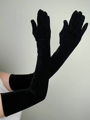 OPERA LONG Length STRETCH VELVET Gloves BLACK