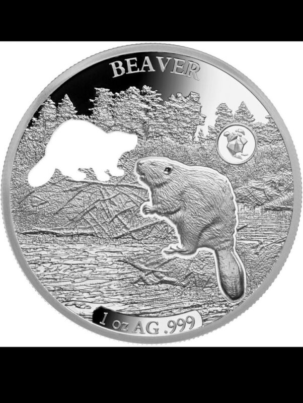 2020 Barbados Shapes America 1 oz Proof-Like Silver Beaver MINTAGE ONLY 7500