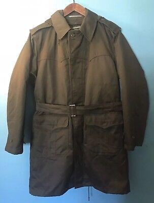 Vtg Foreign Army Military Field Coat JACKET Militatia Lining Croatian Lined Long
