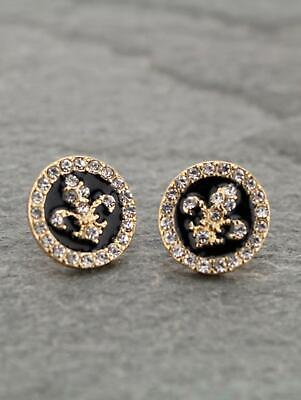 NEW! FLEUR DE LIS  /NEW ORLEANS/SAINTS EARRINGS-GOLD AND BLACK
