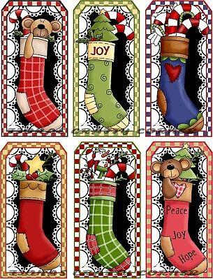 12 CHRISTMAS STOCKINGS TEDDY BEARS FUN HANG / GIFT TAGS FOR SCRAPBOOK PAGES - Fun Christmas Stockings