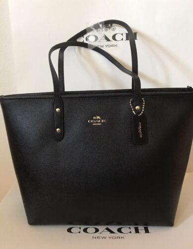 Coach -  Coach - City Zip Tote in Crossgrain Leather (Black) [F58846]