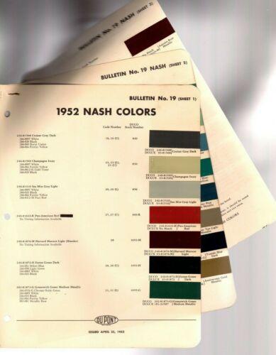1952 NASH Color Chip Paint Sample Brochure / Chart: DuPont