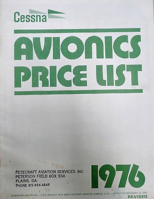 1976 Cessna Single & Multi Engine Avionics Price List Autopilot ADF Transponder