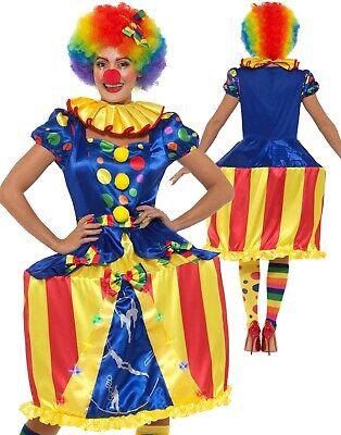 Deluxe Leuchtend Carousel Clown Kostüm Damen Clown Kostüm Outfit UK 8-18