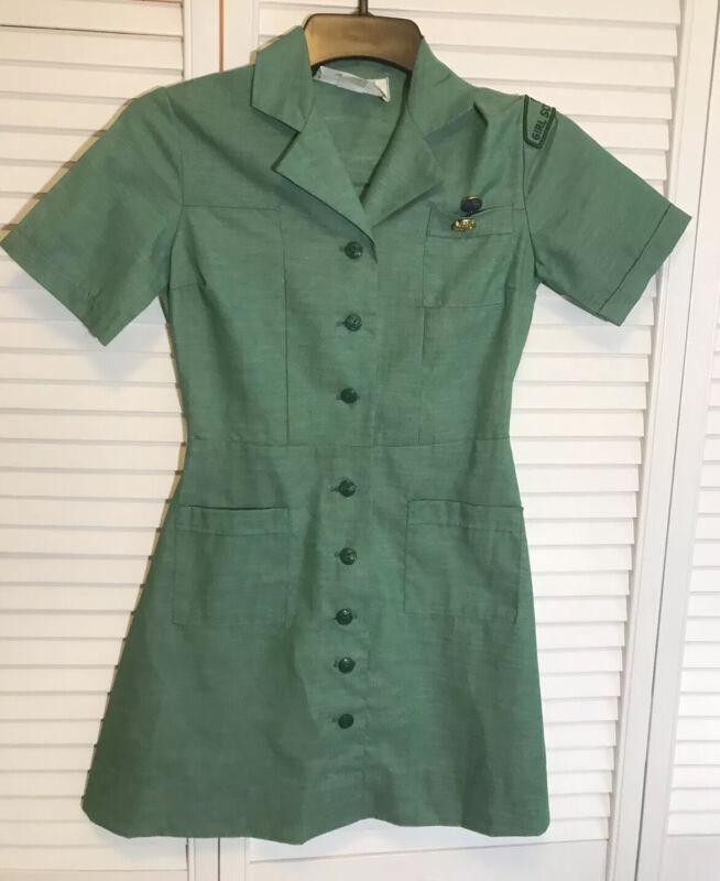 Vintage 50's Official Girl Scout Uniform Dress Girls Sz 7 W/ Patch & Pins~EUC**