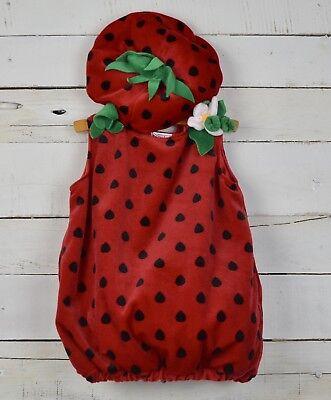 Baby Girl KOALA Kids Sz 12 18m Red Strawberry Costume Outfit w/ Hat Halloween  ()