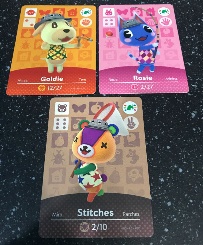 Animal Crossing New Horizons Amiibo Card Goldie Rosie Stitches Lot NEVER SCANNED