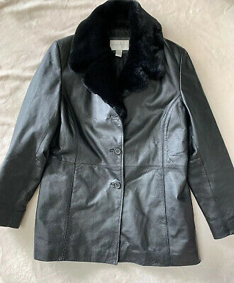 Worthington Black Leather Coat Jacket Faux Fur Trimmed Collar Womens L (Black Leather Jacket With Fur Collar Womens)