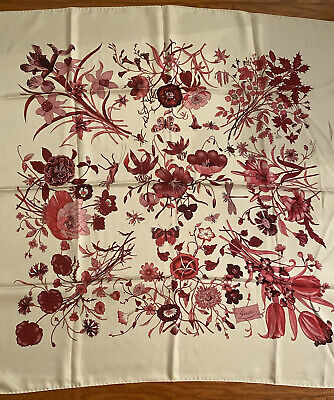 Vintage GUCCI floral AND BUGS silk scarf by Vittorio Accornero PINK PINK PINK