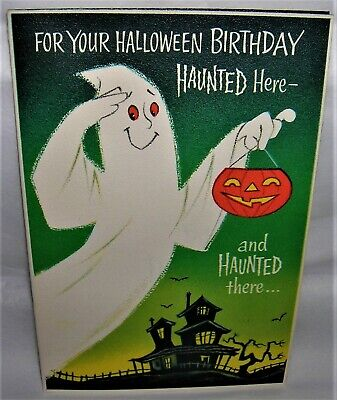 VINTAGE 1950's Rust Craft HALLOWEEN Birthday Greeting Card GHOST, HAUNTED HOUSE
