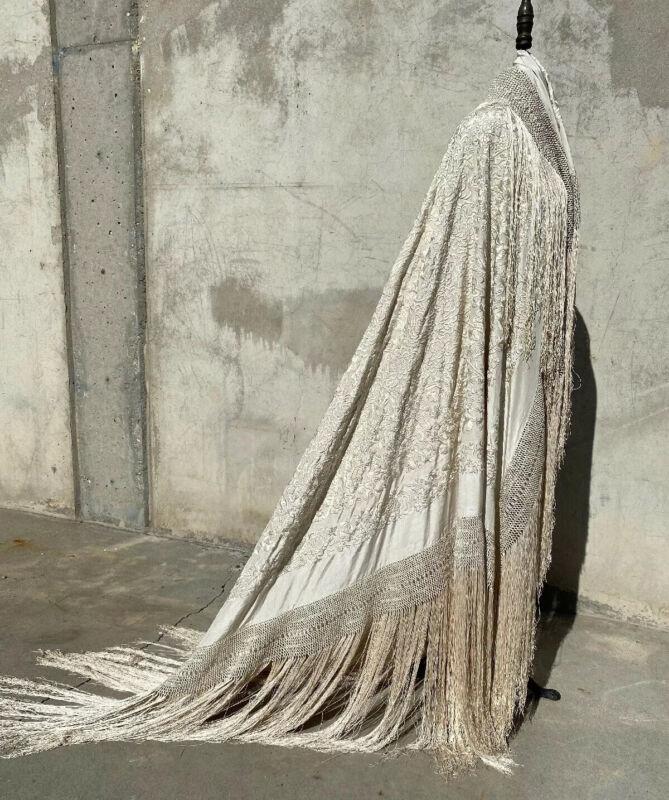 "Antique Piano Shawl Huge Silk Embroidery Colorful Birds Dense Canton Fine 60"""