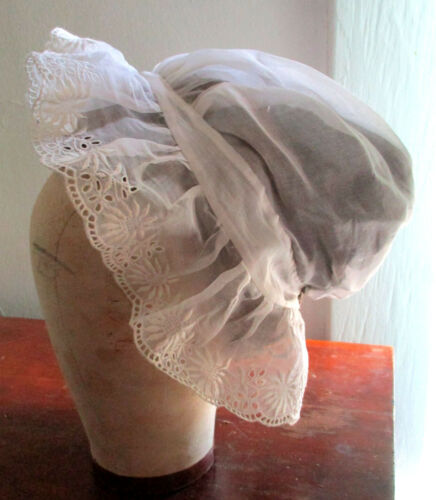 Embroidered Lace Cap Repro 18th Century Ladies Bonnet Regency nightcap Hogarth
