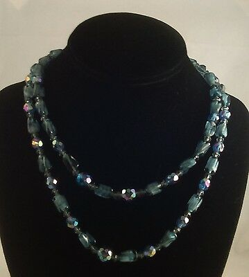 60s -70s Jewelry – Necklaces, Earrings, Rings, Bracelets Vintage Blue Crystal Two Strand Glass Necklace 1960's $58.99 AT vintagedancer.com