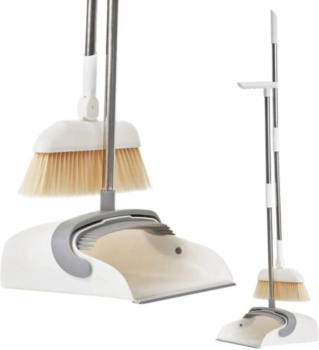 Broom Dustpan Set Standing with Adjustable Long Handle Rotating Head Cleaning