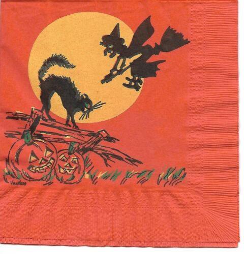 Vintage Paper Halloween Napkin ~ Witch On Broomstick, Black Cat, JOLs, Moon