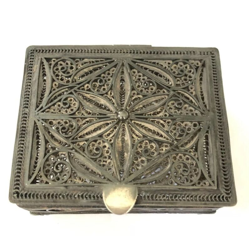 Solid Sterling Silver Ornate Filigree Trinket Box, Hinged Lid, India, 710