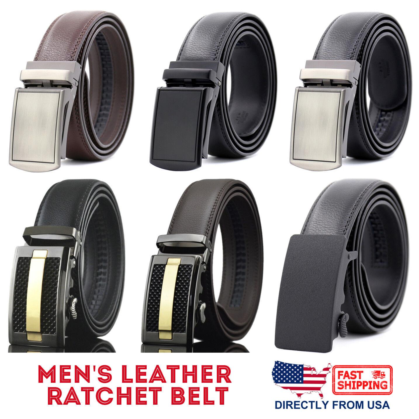 Men's Genuine Leather Adjustable Automatic Buckle Ratchet Gold Dress Belt Belts
