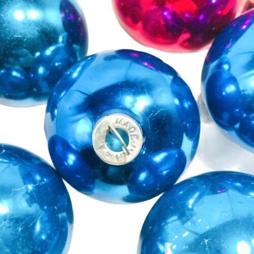 Vintage Lot Of 9 Shiny Brite Christmas Ornaments Balls 8 Blue 1 Pink Retro Color