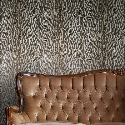 Wallpaper Tiger faux animal waves fur textured modern wall coverings ivory gold