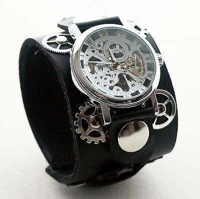 Reloj Negro De Piel pulsera brazalete Steampunk gótico-mecánica