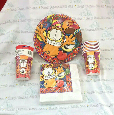 GARFIELD Birthday Party Supplies - Plates Napkins Cups - NEW Old Stock Paper - Garfield Party Supplies