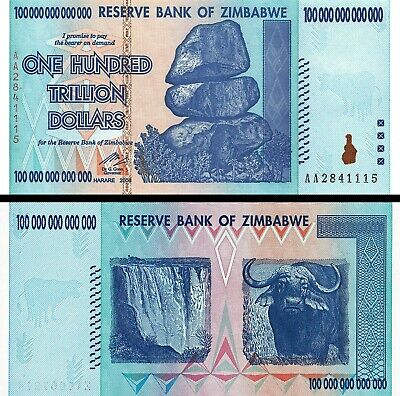 100 Trillion Dollars Reserve Bank OF ZIMBABWE 2008, AA UNCIRCULATED - MINT