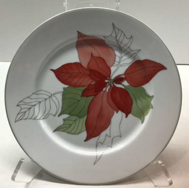 Vintage 1982 Set 6 Block Spal POINSETTIA PATTERN Salad Plates MARY LOU GOERTZEN