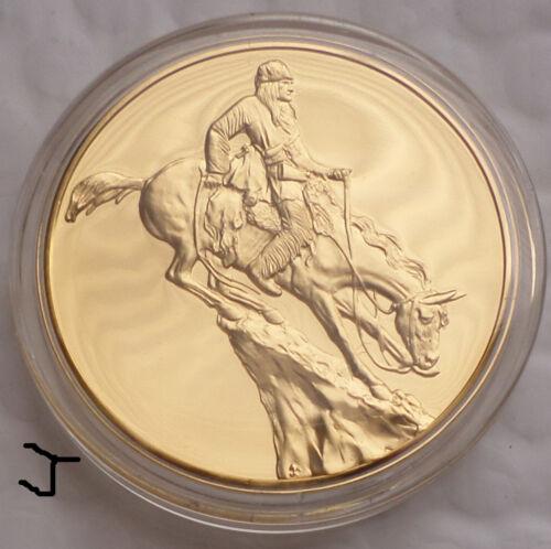 "24K Gold Bronze Art Medal ""THE MOUNTAIN MAN"" Frederic Remington Sculpture Commem"