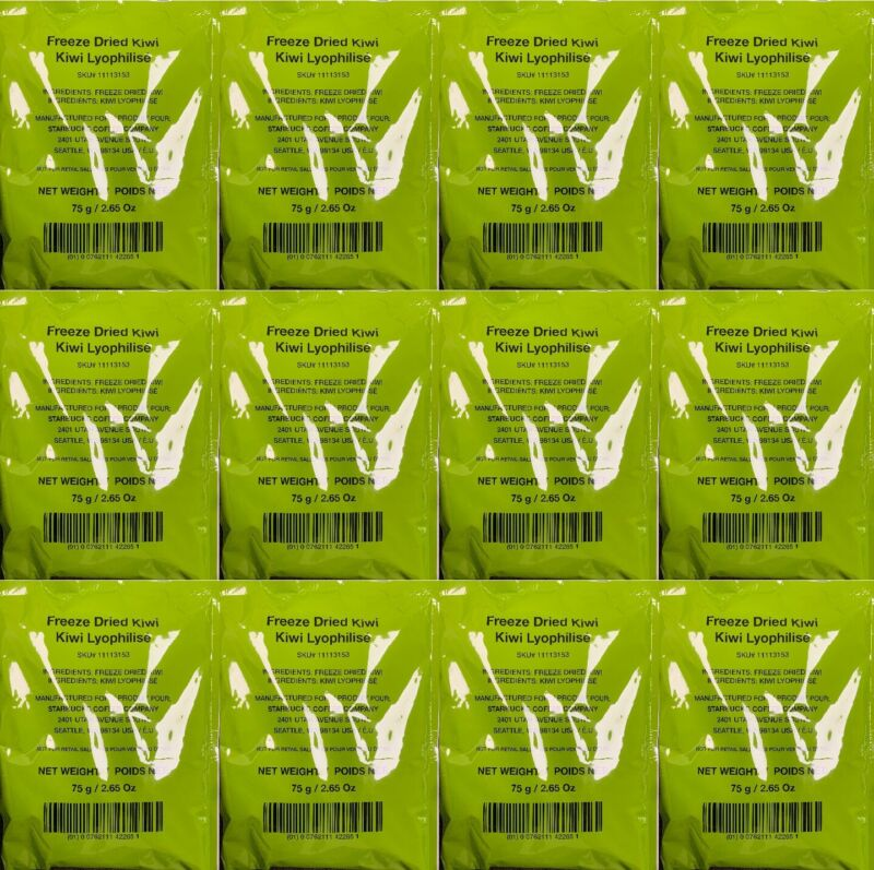 Starbucks (12-Pack) Freeze Dried Kiwis 75g/2.65oz Bags Each Best By 1/21