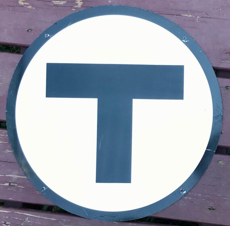 "Vintage Metal Round Street Car Train Bus Sign ""T"" Authentic Boston MTA MBTA"