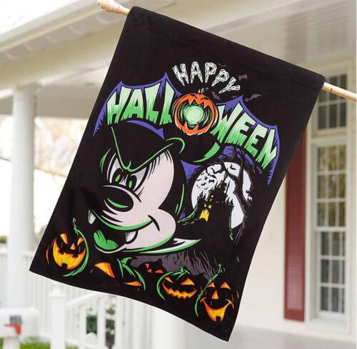 "Halloween Mickey Mouse Garden Yard Flag Large 28 x 40"" Vampire Castle Pumpkins"