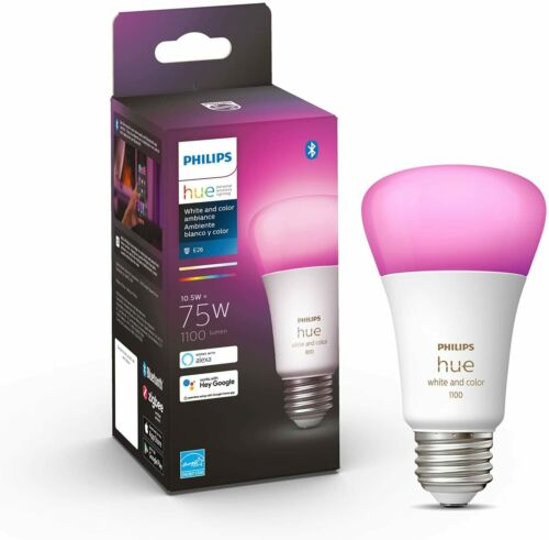 Philips - Hue White and Color Ambiance A19 Bluetooth 75W Smart LED Bulb