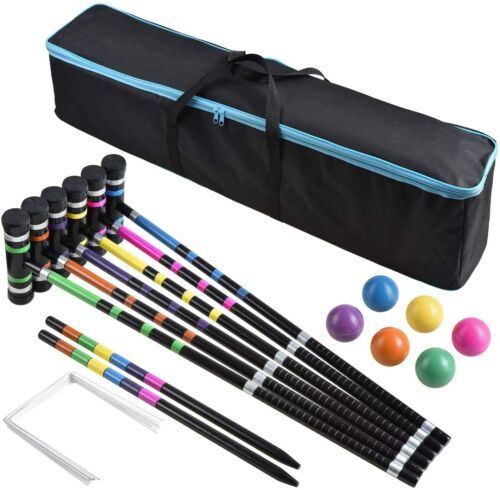 6 Players Premium Croquet Set for Families BroWill Outdoor Backyard Games