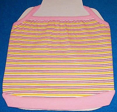 NEW Size 0 XXS Pink Yellow  Striped T-backTank Shirt Dog Clothes
