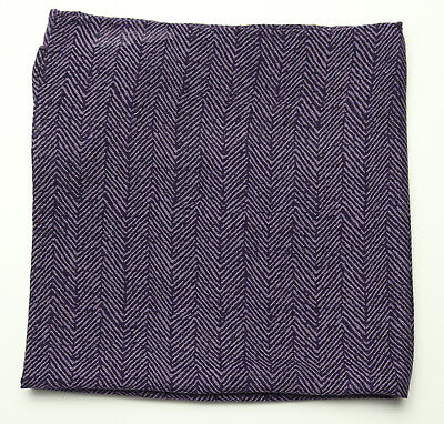 New Mens Bloomingdales Silk Wool Purple Herringbone Handkerchief Pocket Square  ()