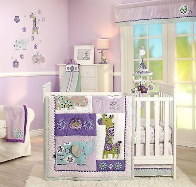 Carters Zoo Collection 4pc Baby Girl Crib Bedding Set Elephant Giraffe  Purple