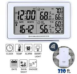 Wireless Weather Station Digital Alarm Clock LCD Large Display,Indoor & Outdoor