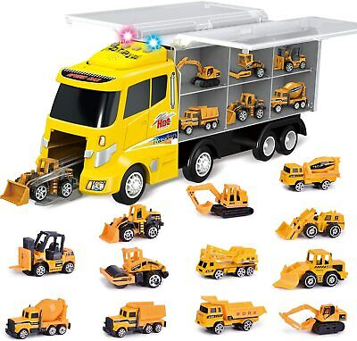 12 in 1Die-cast Construction Truck,Toy Car,Play Vehicles,Carrier Truck,Kids Gift