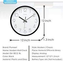 Plumeet Black Silent Wall Clocks - Non Ticking Quartz Round Clock Decorate Bedro