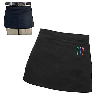 Black Short Waist BISTRO Pocket APRON for Bar Cafe Pub Waiter Waitress Barista