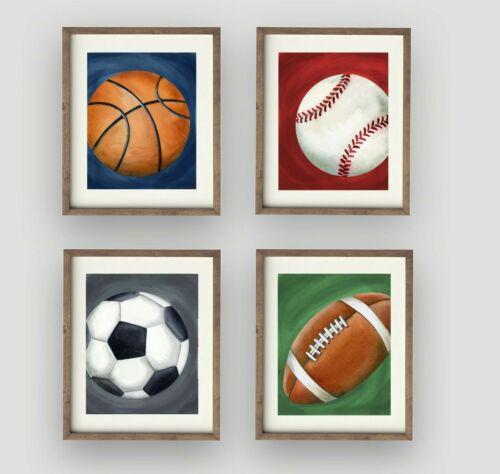 Sports football baseball Prints Wall Art Decor children for baby boy nursery