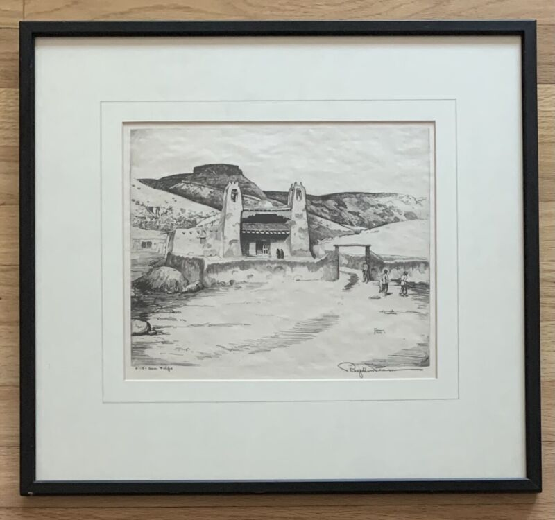 RALPH PEARSON Original Pencil Signed Etching SAN FELIPE Mission New Mexico 1922