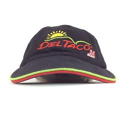 Del Taco 24 Hours Fast Food Restaurant Black Baseball Cap Hat Adj Adult Cotton