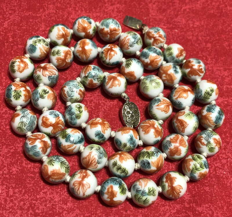 """Vintage Chinese Cloisonné White Enamel bead Beaded Necklace Strand Gold Fish 30"""""""