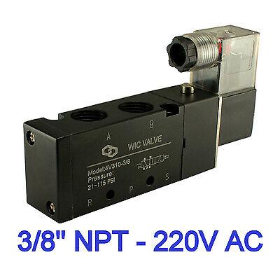 Neumático 4 Way Eléctrico Direccional Control Solenoide Válvula de Aire 220v Ac