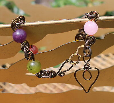 Inspired Copper Wire Wrapped Heart Bracelet Gemstone Rose Quartz Prehnite on Rummage