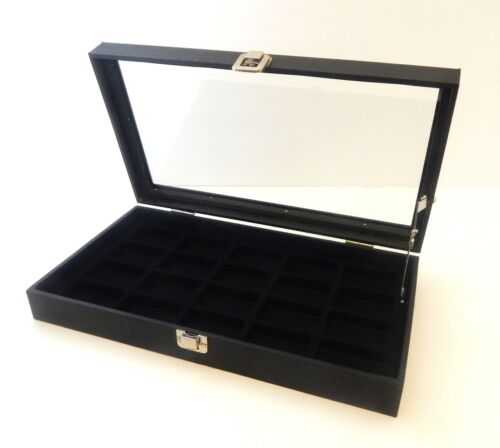 Glass Top Black 20 Lighter Display Organizer Storage Case with Lid Support