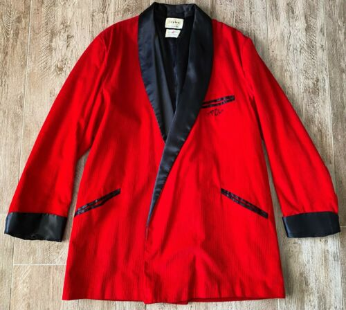 Vintage Roytex 50's Red Corduroy Smoking Jacket Robe-XL Hughes & Hatcher